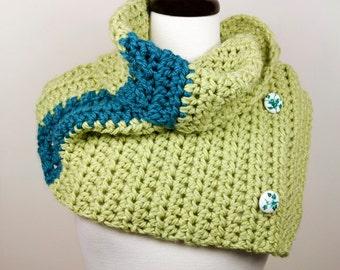 Cypress Garden - Button-Down Capelet, Cowl Neckwarmer, Luxury Merino Handmade Crochet