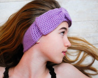 Crochet Pattern - Headband Style Ear Warmer with Bow (3 Sizes to Fit Child to Adult) - Immediate PDF Download