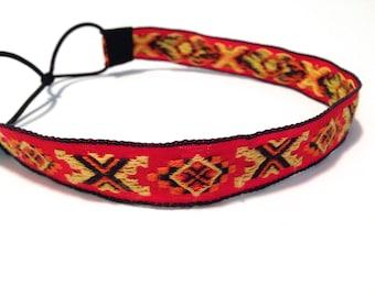 SALE // Orange, Black, and Yellow Aztec Tribal Print Headband