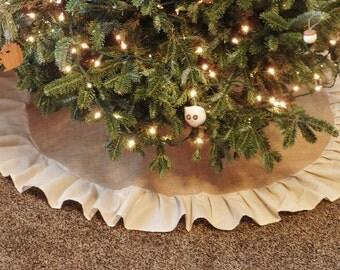 Burlap Ruffle Tree Skirt-Natural Burlap-W/Large Ruffle-Folk/Rustic/Country/Shabby Chic