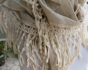 fringe scarf,Oatmeal Ivory natural linen cotton women's scarves - cotton lace fringe scarf- haute couture Turkish scarf