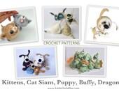 5 patterns: Kittens, Cat Siam, Dragon, dog Puppy, dog Buffy - Amigurumi crochet patterns by Pertseva Etsy