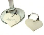 Set of 10 Heart Shaped Wedding Place Name Card Wine Glass Stem Tags