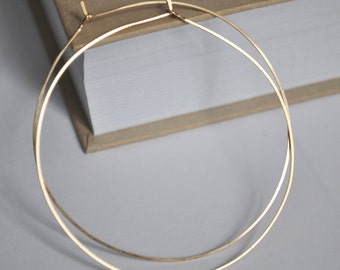 Delicate Gold Hoop Earrings 2 inch - Elegant Thin Gold Filled Hoops - Lightweight Jewelry for Women / Fashion Earrings / Medium Large Hoops
