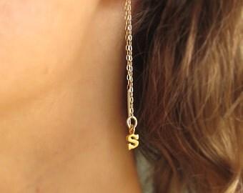 Personalized Dangle Chain Earrings. Initial Charm Gold Earrings. Letter Earrings. Long Dangle Earrings.Personalized Earrings.Custom Earrings