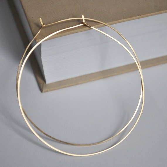 Delicate Gold Hoop Earrings 2 inch Elegant Thin Gold Filled