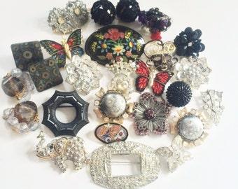 Vintage Brooch Lot, Goth Bridal Bouquet, Bridesmaids 18pc Wear or Destash Jewelry Lot, Rhinestone Brooch Lot, Butterfly Brooch