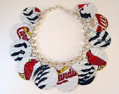 Recycled Beer Can Cardinals Baseball Charm Bracelet Red White Blue - beforethelandfill