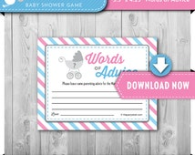Baby Shower Games, Gender Reveal ADVICE CARDS, Printable, Bows or Bowties theme, Many Unique Games available, Instant Download, Print Now