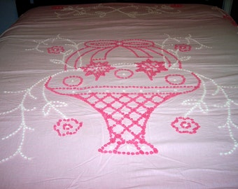 Vintage Handmade Pink and White Popcorn Chenille Bedspread/Blanket Cutter