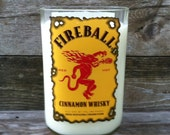 New! Fireball Whiskey Bottle- Re-Cycled into a Red Hot Cinnamon Soy Candle