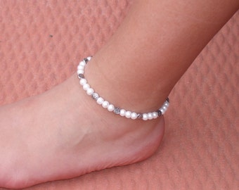 White Glass Pearl and Silver Beaded Stretch Ankle Bracelet