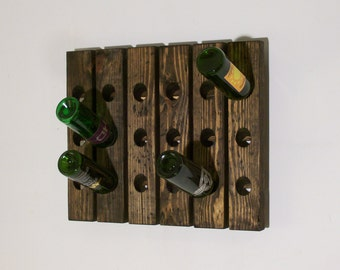 Wine Riddling Rack Distressed Wood Wall Wine Rack