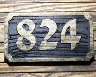 Carved Address Sign Antique Brass Finished Wood Hand Painted Plaque