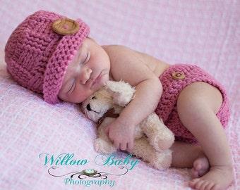 Hat & Diaper Cover- Newborn - Basketweave Beanie Hat and Diaper Cover