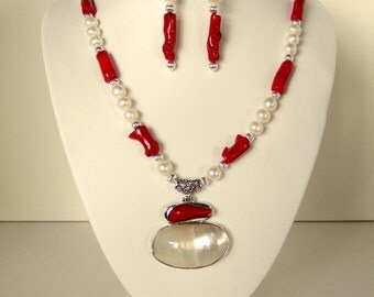 Gorgeous Red Coral Pendant Necklace & Earrings Beautiful White Freshwater Unique Necklace Pearl Mother of Pearl Lux Christmas Gift for Her