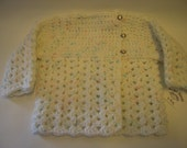 SALE*** Long Sleeve Baby Sweater by Angel Kisses   12-18M Baby Flecked/White