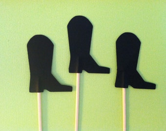 12 Cowboy boot cupcake toppers-boot appetizer picks
