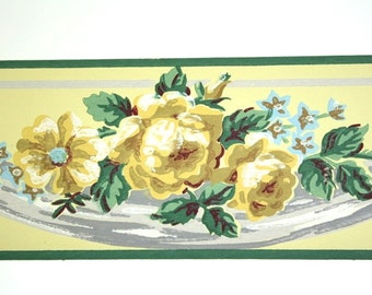 Full Vintage Wallpaper Border - TRIMZ - Yellow Cabbage Rose, Yellow and Green Floral