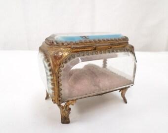 French Antique Roscoff Brittany Souvenir Ormoulu Jewelry trinket Box