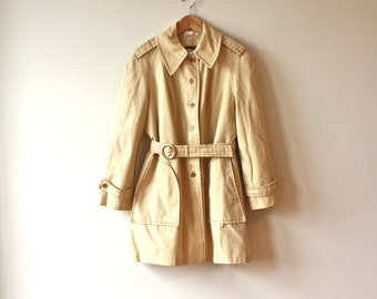 70s Khaki Tailored All Weather Vintage Trench Coat Womens