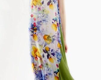 Fruits print viscose and silk blend kaftan dress