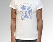 Fat cat printed organic Tshirt size S, M, L