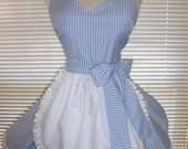Retro Costume Apron French Maid Apron Blue and White Gingham