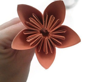 Peach Color Kusudama Origami Paper Flower with Stem