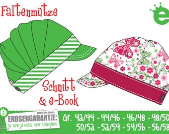 Pleated cap: e-book and sewing pattern // pdf instant download //  sizes 42/44-56/58 cm