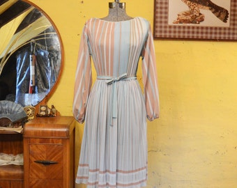 Vintage Pastel Stripes Dress S