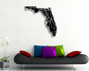 Florida Map Art - 36x33 in. - Abstract Map, Florida State Art - Engraved State Map Highways - Monochromatic Art, Modern Florida Artwork