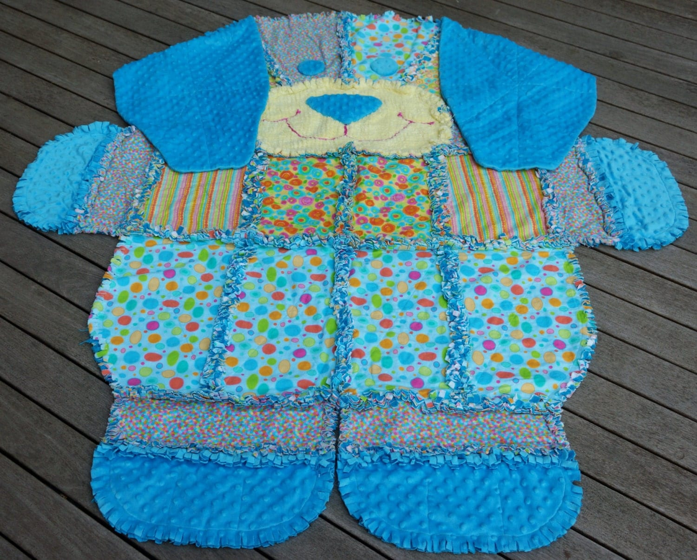 Rag Quilt Animal Patterns : DOG RAG QUILTKeepsake Quilt Animal Quilt Turquoise Minky