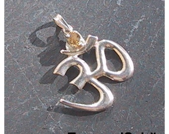 OM, pendant, silver, citrine, magic, New Age, charm, symbol