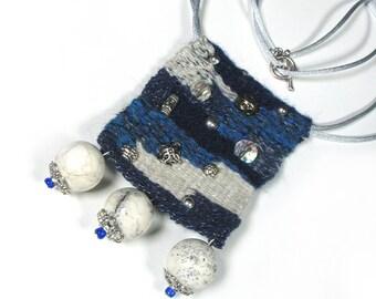 Woven Necklace,Artistic,Yarn,Unique, Weaving,Blue,Grey,Silver,Boho,Bohemian