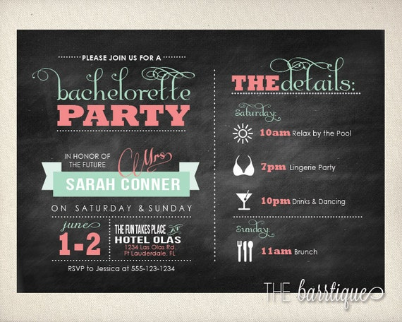 bachelorette party night weekend itinerary modern invitations. Black Bedroom Furniture Sets. Home Design Ideas