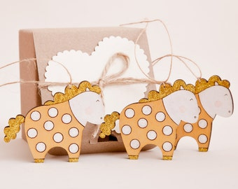 Gold Christmas Tree Decoration Horse Holiday Ornaments Polka Dots Wooden Horses Set of 3 Christmas Gifts