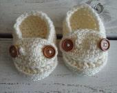 Crochet cream baby boy loafer booties