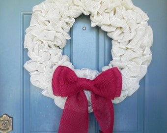 Burlap Wreath with Large Burlap Bow - CHRISTMAS IN JULY - Choose your Base and Bow Colors