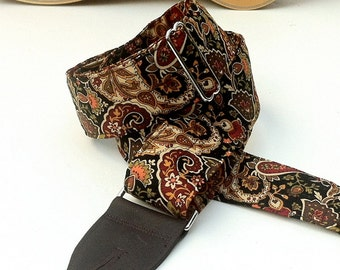Paisley Earth Guitar Strap with Black or Brown Leather Ends