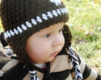 Crochet  Football Hat with earflaps.