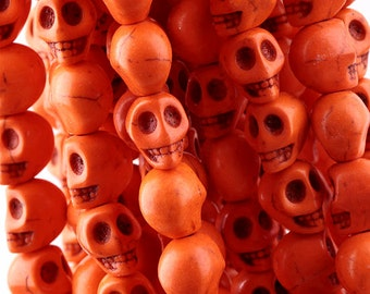 20 Skull Beads 6mm x 8mm Dyed Turquoise Stone  - Day of the Dead Rainbow Colors - Tangerine Orange