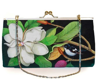 Clutch Large, Miss White, party-ready, white, flower, bird
