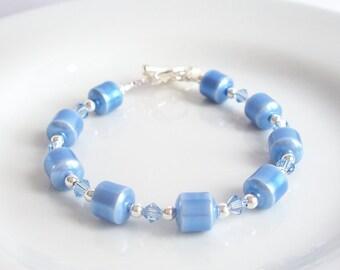 Sales Clearance, Blue Hematite Bracelet, Light Sapphire Swarovski Crystal, Blue Beaded Silver Plated Bracelet