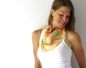 RESERVED! Peach Silk Scarf - Peaches - Hand Painted Silk Scarf - Summer Fashion - Orange - Green - Trees -Spring Fashion - Mothers Day