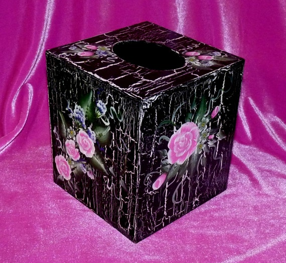 Decorated Tissue Box: Hand Painted Kleenex Box Cover Custom Wood Boutique Tissue Box