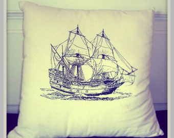 Screenprinted Ship Cushion Nautical handmade tattoo alternative Wedding