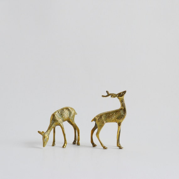 Brass Deer Stag Ornaments / Christmas Ornament Decor Kitsch