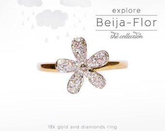 Flower ring with diamonds and 18k gold