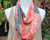 Infinity scarf, loop, tube, circle, butterfly pattern, summer scarf, fall scarf